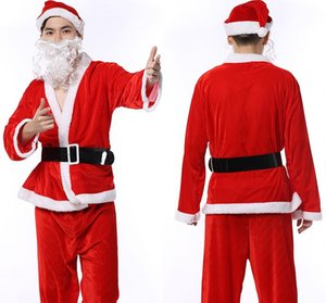 QLuoYi Christmas Boy Costume Christmas Costumes for Men Coat Pants Beard Belt Hat Set Set Costume Santa Claus Suit