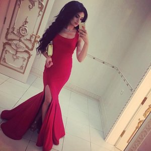Red Square Neckline Mermaid Prom Dresses With Slits Elegant Sleeveless Simple Long Formal Evening Gowns plus size special occasion dress on Sale