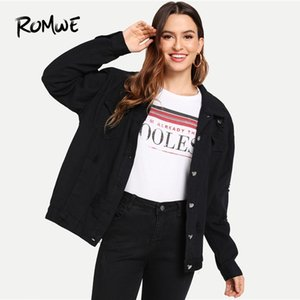 Wholesale Ripped Dual Pocket Denim Jacket Chic Black Women Spring Autumn Outer Long Sleeve Single Breasted Women Coat