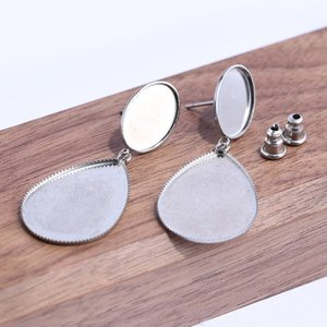 Wholesale reidgaller pairs Fit x14mm oval x25mm teardrop blank stainless steel stud cabochon earring base diy cameo bezel settings