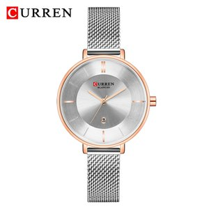 cinturón de acero femenino al por mayor-CURREN Brand Fashion Silver and Gold Mesh Belt Relojes de acero inoxidable Reloj femenino Reloj casual Reloj de pulsera para mujer Relogio Feminino