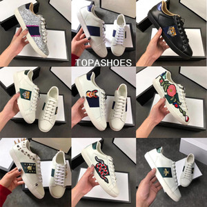 Wholesale New Designer shoes Ace leather sneaker men women Classic trainers python tiger bee Flower Embroidered Cock Love sneakers