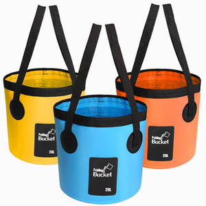 12L Folding Bucket Wash Basin Camping Waterpot Container Car Washing Fishing Hiking PVC Waterproof Bucket Outdoor Travel Kit Free DHL M238Y