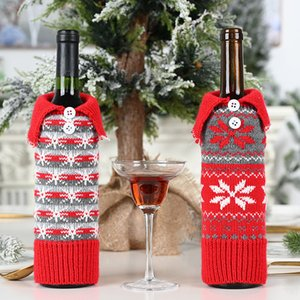 Wholesale christmas decoration outside resale online - Xmas Red Knit Wine Cover Bag Snowflake Designer Wine Bottle Case Christmas Decoration For Outside Inside HH9