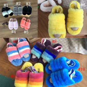 Women Furry Slippers Australia Fluff Yeah Slide Designer Casual Shoes Boots Fashion Luxury Patchwork Women Sandals Fur Slides Slipper C71908 on Sale