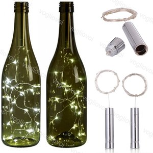 Wholesale LED Strings Holiday Silver M M LED Wine Bottle Lights Battery Powered Cork Shape Glass Bottle Stopper Lamp Christmas Garlands Decor EUB