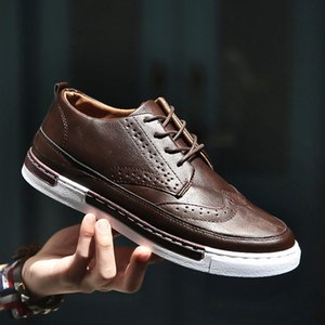 Wholesale Men Sneakers Black Brown Lace Up Flats Male Casual Shoes Men Winter Footwear PU Leather Loafers Plus Size Chaussure Homme