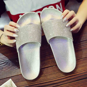 Wholesale Shoes Slippers Womens Flat Sliders Sandals Diamante Sparkly Colorful Diamond Crystal fashion new shoes woman