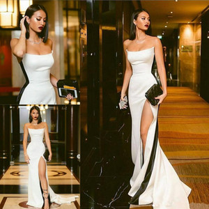 White Black Satin Strapless Long Prom Dresses 2019 Sexy High Front Split Formal Evening Gowns Zipper Up Back Pageant Celebrity Dress Party on Sale