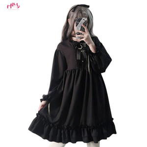 Wholesale Harajuku Gothic Lolita Black Womens Dress With Stars Buttons Autumn Japanese Lace Up Long Sleeves Ruffles Teen Girls Dress T3190614