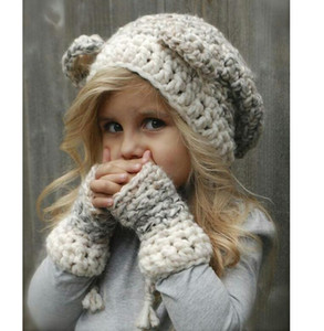 Wholesale Children s hat New wool thermal hat for boys and girls in autumn and winter Bear Glove Braid Two piece Set