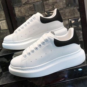 Party Platform Casual Shoes Black Velvet Genuine Leather Sneaker Mens Women Fashion Reflective White Colorful laces Flat Chaussures