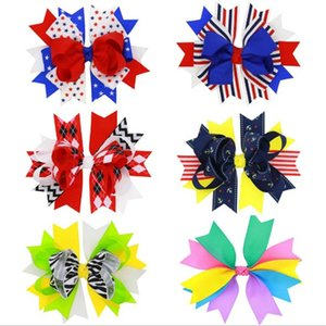 Wholesale 4th of July Cheer Bow Patriotic Hairpins Cheerleader Bow With Hair Clips For Girl Cheerleader Barrettes