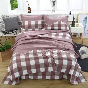 Wholesale Satellite Brown Plaid D Bedding Sets Printed Duvet Cover Set Set Queen King Twin Size