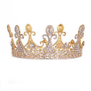 Wholesale Full Round Crystal Rhinestone Wedding Tiaras Bridal Hair Accessories Big Woman Crown for Cake Topper Festival Party Prom Gift