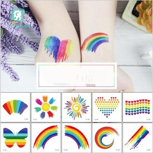 Wholesale Waterproof Rainbow Flag Stickers Tattoos Kids Toys Adult Face Cosmetic Colorful Temporary Tattoo Shinning Butterfly Heart Tattoo Styles