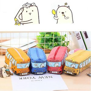 Wholesale Car pencil case student animal bus pen bag pencil case children boys girls cartoon canvas purse
