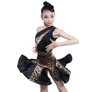 New Latin Dance Costume For Girls Ballroom Salsa Tango Skirts Kid Child Leopard Latin Dance Split Dress With Leotard And Skirt