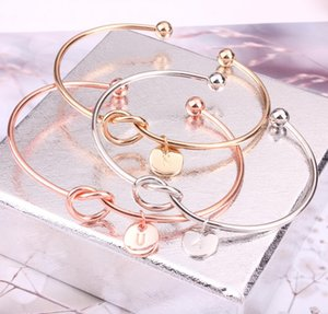 Wholesale Free DHL Letters Charms Knot Heart Bracelet Open Cuff Adjustable Bangle Coin Pendant Women Bridesmaid Bracelets Wedding Jewelry New H996F