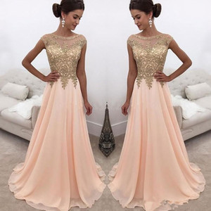 Wholesale silver jewe resale online - Blush Pink Sheer Jewe Neck Gold Lace Appliqued Long A Line Prom Dresses Cap Sleeves Formal Party Wear Formal Evening Dresses Custom Made