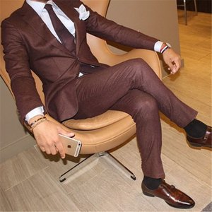 Wholesale brown suits tie for sale - Group buy 2 Pieces New Arrival Two Button Brown Men Suits Street Wedding Tuxdeo Jacket Pants Tie terno Masculino Blazer