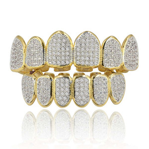 Classic 6 6 Hip Hop Teeth Grillz Set Gold Silver Teeth Grillz Top & Bottom Grills Dental Mouth Caps Cosplay Party