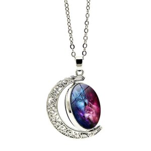 Wholesale Starry Sky Down Real Wolf Hunter Necklace Fashion Crystal Party Trendy Designer Fine Jewelry Women Necklaces Pendant Female Time Gem Collar