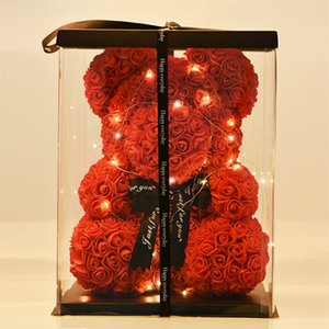 Wholesale Dropshiping cm Bear of Roses with LED Gift Box Teddy Bear Rose Soap Foam Flower Artificial New Year Gifts for Women Valentines