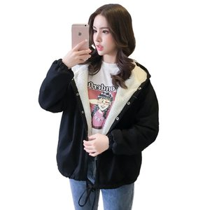 2019 Autumn And Winter New Style Korean-style Lambs Wool Students Cotton-padded Clothes Hooded Coat Large Size Cartoon Cotton Co