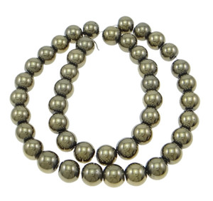 Wholesale Top Quality Jewelry Making inch Round Golden Pyrite Beads For Smooth Natural Gem Stone Ball Bead Strands mm