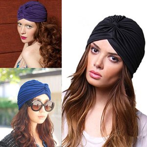 Wholesale Fashion Indian Unisex Head Wrap Cap women turban Bandana indian caps Cloche Hair Cover Pleated Hat red blue black white