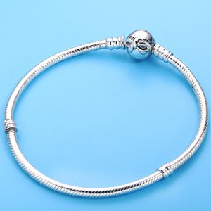Wholesale Authentic Sterling Silver Dainty Bow Clasp Crystal Snake Chain Pan Bracelet Fit Women Bead Charm Diy Europe Jewelry
