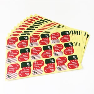 900pcs lot New Vintage Merry Christmas Socks series Kraft seal sticker DIY note gift Labels Wholesale