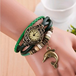 Wholesale New Fashion woman watch Retro Multilayer Dolphin Pendant Bead Braided Faux Leather Quartz Bracelet watch dolphin tag Ladies Watch