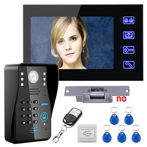 Wholesale Touch Key quot Lcd RFID Password Video Door Phone Intercom System Kit Electric Strike Lock Wireless Remote Control unlock