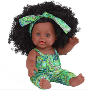 Wholesale Black Baby Dolls African inch Reborn Silicone Vinyl cm Newborn Poupee boneca baby soft toy girl kid todder