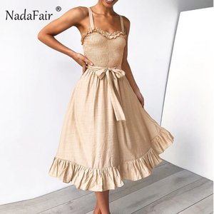 Wholesale Nadafair Brush Cotton Linen Elegant Dress Sleeveless Sleeveless Sharp Folded Part Dress In Summer Sexy Casual Midi Dress Vestidos Y19071101