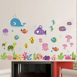 Wholesale New Underwater World Cartoon Marine Fish Wall Stickers Animals Drop Ornament Wall Decals for Kids Rooms Kindergarten Decoration