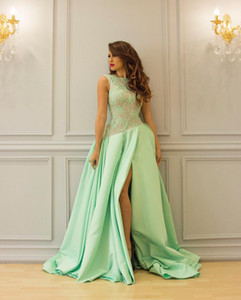 Dubai Arabic Mint Evening Dresses With Slits Elegant Long Prom Dress Gorgeous Satin Formal Women Wear Special Occasion Dress With Lace 2020 on Sale