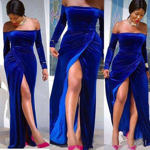 2019 Off The Shoulder Evening Dresses Royal Blue Velvet Long Sleeve Side Split Mermaid Sweep Train Formal Party Wear Occasion Prom Dresses on Sale