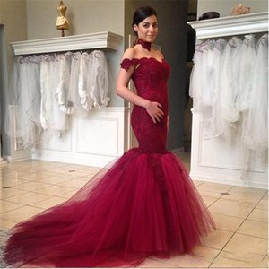 2018 Vestidos De Festa Mermaid Lace Arabic Prom Dresses Sexy Off the Shoulder Backless Appliqued Court Train Formal Evening Gowns BA1012 on Sale