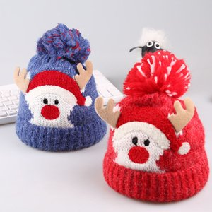 Baby Boys Girls Christmas Knitted Hats Cartoon Elk Knitting Pompom Wool Bobble Winter Toddler Kids Designer Hats Fashion Ski Warm Hats 04