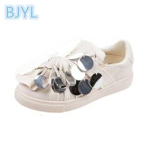 Wholesale BJYL Small white shoes female autumn new sequin canvas shoes students wild flat net red single women