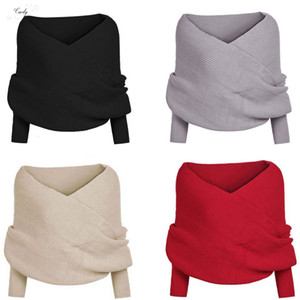 New Style Fashion Top Us Stock Women Fashion Off Shoulder Knitted Cape Regular Hot Wrap Shawl Drop Shipping