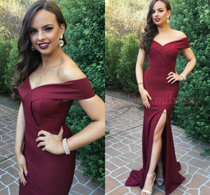 Wholesale bridsmaid dresses for sale - Group buy 2019 Burgundy Off Shoulder Mermaid Bridsmaid Dresses Cheap Sexy High Side Spliy Evening Prom Gown Eleagnt Wedding Guest Dresses