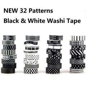 2019 1X 10m Christmas Japanese Paper Tape Black and White set Scrapbooking DIY Craft Sticky Decorative Adhesive Tapes on Sale