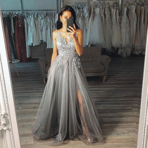 Wholesale Red Blingbling Sequins Prom Dresses 2019 Sleeveless Mermaid Plunging V Neck Black Girl Prom Dresses Evening cocktail Party Gowns