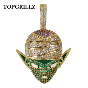 Wholesale Topgrillz Dragon Ball Character Piccolo Pendant Necklace Iced Out Cz Hip Hop Gold Silver Color Men Women Charms Chain Jewelry J190711