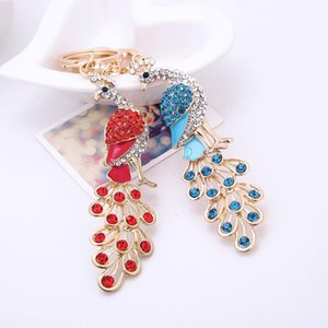 Wholesale Fashion Colorful Rhinestone Peacock Key Ring Decor Handbag Pendant Keychain