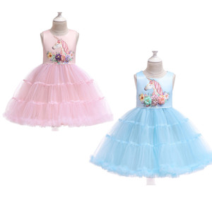 Wholesale Kids Girls Unicorn Princess Dresses Bow Tie Sash Cake Dress Invisible Zipper Solid Mesh Dress Kids Designer Party Peform TUTU Dress T